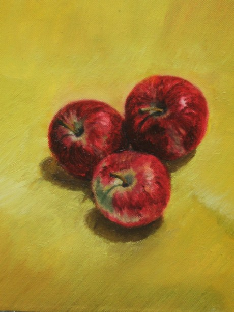 Apples on canvas